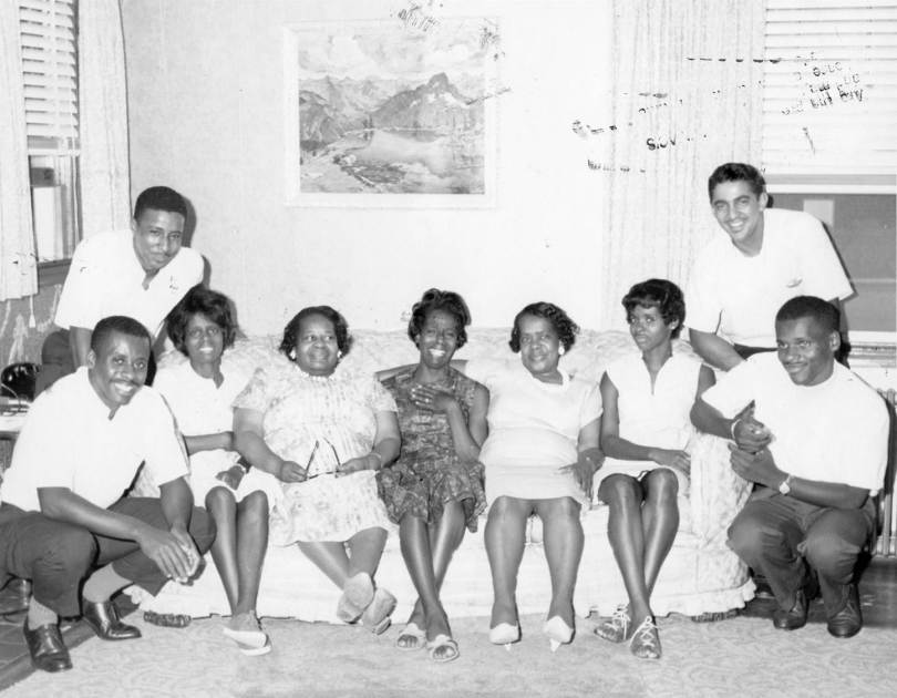 On a Sunday afternoon in the 1960s, sisters Eliza and Pauline Gray relax for a moment with some of their nieces and nephews